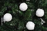 Kaemingk 18x Glitzer Christbaumkugeln Weiß 6cm Schneeball Kunststoff Weihnachtskugeln