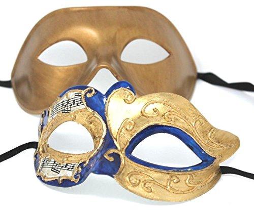 Sein und ihrs Zwei Blau und Gold venezianische Maskerade Partei Karneval Masken Für Paare (Maskerade-maske Für Paare Gold)