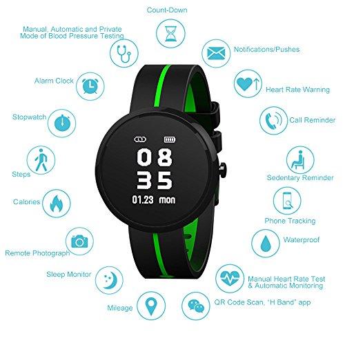 TOP-MAX Elegantes Schwimmen Frauen Smartwatch, wasserdichtes Fitness Tracker Armband für Frauen, Bluetooth 4.0 mit Herzfrequenz / Blutdruck / Schlaf-Monitor / Schrittzähler / Benachrichtigungen für IOS Android Smartphone, schwarz grün