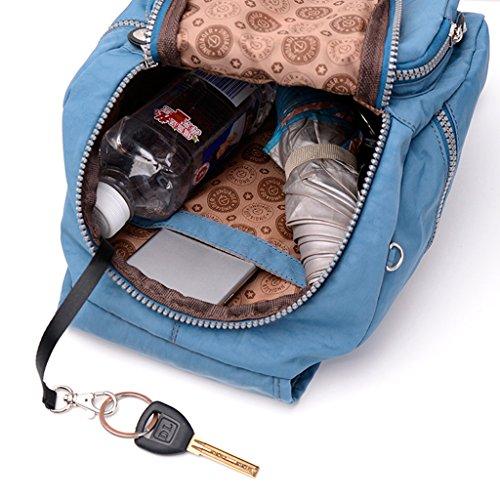 Sharplace Donne Borse Sacchetto Da Viaggio Sport Zaino Casual In Nylon Impermeabile - Rosa Blu Grigio