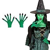 Amakando Hexen Handschuhe Hexenhandschuhe grün Hexe Stoffhandschuhe Bestie Hexenhände Halloween Monsterhandschuhe Alien Faschingshandschuhe