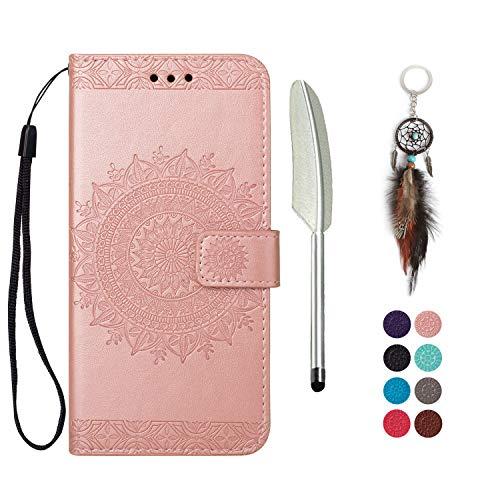LA-Otter Kompatibel für Huawei P smart 2019 Hülle Leder Mandala Rosegold Tasche handyhüllen mit Kartenfach Lederhülle Schutzhülle Flip Case Klapphülle