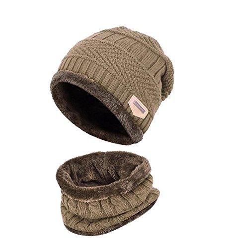 Kinder Winter warme Mütze mit Schal Strickmütze weich gefüttert.YR.Lover, Khaki, Einheitsgröße