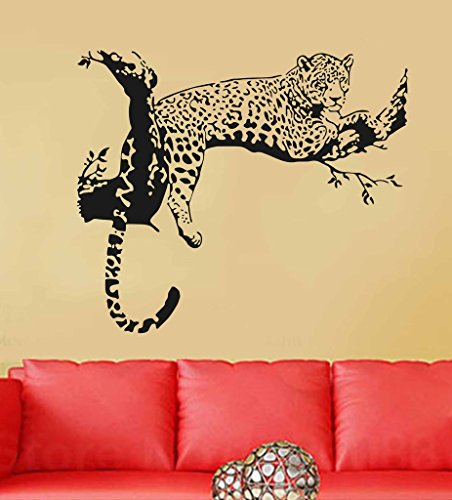 Decals Design Wall Stickers Animal Design Leopard On Branch sofa Backdrop (PVC Vinyl, 60 x 45 cm, Black)  available at amazon for Rs.169
