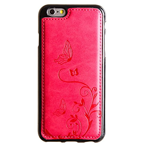 CellularOutfitter Apple iPhone 6/6s Leather Wallet Case - Embossed Butterfly Design w/ Matching Detachable Case and Wristlet - Taupe Hot Pink