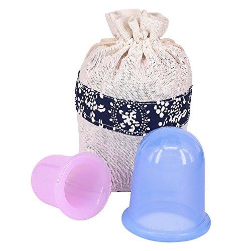 Kindax 2PCS Pequeñas Copas Cuerpo anti Celulitis de Vacío de Silicona Ventosa de Masaje de Silicona Cuidado de la Cuello, Cara y Cuerpo (Copa grande + copa media)