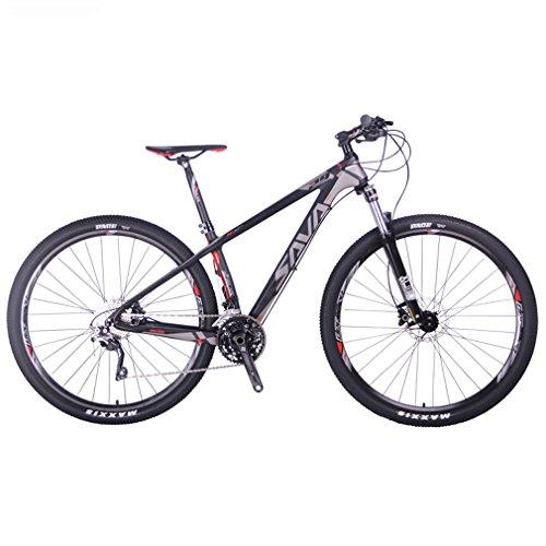SAVA DECK 300 27.5'/29' Bicicleta de Montaña de Fibra de Carbono 30-Velocidad Shimano M610 Hard Tail Bicicleta SR SUNTOUR Horquilla de Suspensión Mountain Bike Maxxis Neumáticos Bicis Montaña (Negro & Gris, 29')