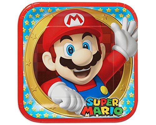 amscan 55155423cm Super Mario quadratisch Pappteller