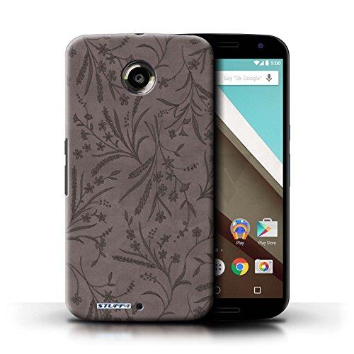 Kobalt® Imprimé Etui / Coque pour Motorola Nexus 6 / Rose/Orange conception / Série Motif floral blé Gris