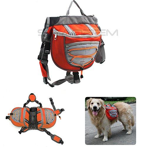 Imagen de inpay  perro respirable ajustable   alforja para senderismo, ejercicio, camping , viaje , trekking , ir de compras  fácil de adaptar alforja bolsa trébol con pequeño , mediamo , grande perro naranja, s