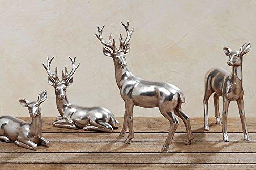 REH UND HIRSCH LIEGEND silber antik H10cm und H15cm 2er Set Dekoration Weihnachten Hirsch Hirsche Rehe -