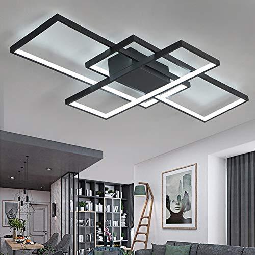 Plafonnier LED de salon à intensité variable 3000K-6500K en acrylique - Couleur de la lumière/luminosité réglable - Lampe moderne chic pour salle à manger, chambre à coucher, cuisine Moderne Noir