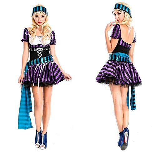 KAIDILA Halloween Erwachsene Karibik PIRATENKOSTÜM Streifen Jack Kapitän Piraten Nacht Shop Motto Party Kostüm