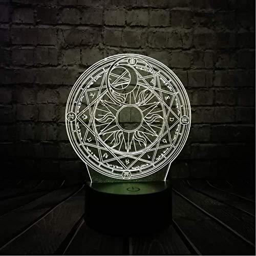 3D Illusion Lampe Galaxer 3D Illusion 3D Lampe Optische Lampen Illusionen Nachtlicht Touch Fernbedienung 7 Farben Geburtstagsgeschenk Kompass Stil Spielzeug Display -