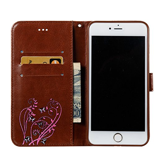 Coque iPhone 6s, Étui en cuir iPhone 6, Lifetrut [Papillons en relief] Design Flip Folio Cuir Housse de Portefeuille pour iPhone 6S 6 [Or] E203-Marron