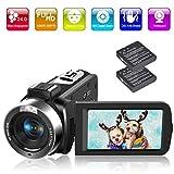 Videokamera Camcorder Full HD 1080P 30FPS 24.0MP 18X Digitalzoom Digitalkamera mit Fernbedienung und LED Füllleuchte