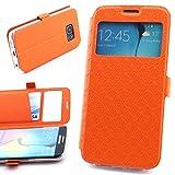 ScorpioCover Étui à Rabat Style Livre Star Design pour Samsung Galaxy S6Edge Coque Étui à Rabat avec Fermeture magnétique à Rabat Samsung Galaxy S7 Edge Orange