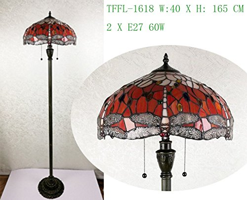 Beautiful Dragonfly Design with Clear Jewels effect Tiffany Style Glass Floor Lamp