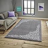 Savoy Teppich im Modernen Design Wohnzimmerteppich Florhöhe 11 mm Farbe Silber Größe: 120x170 cm