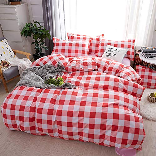 UOUL Bettwäsche Set 4 Stück Baumwolle Komfortable Plaid Atmungsaktiv Pflegeleicht Einfach Modern Fit Teen Schlafzimmer Twin,Lattice,California King -