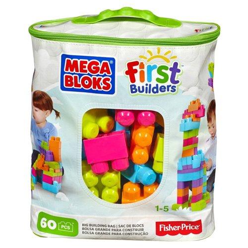 Mega bloks cyp66 - sacca ecologica maxi mattoncini, 60 pezzi, colori trendy
