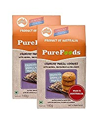PureFoods Crunchy Vanilla Muesli Gluten Free Cookies 140g (Pack of 2)
