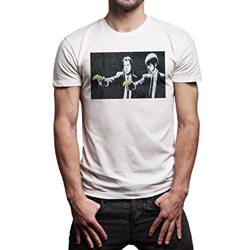 Pulp Fiction Ouentin Tarantino Movie Banana Wall Background Herren T-Shirt Weiß