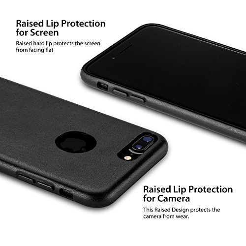 RANVOO [DELUXE] iPhone 7 Plus Hülle, Premium Handgefertigte Echte Leder Hülle + Alcantara Innenmantel, Schwarz Schwarz
