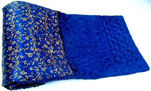 Avighna Jaipuri Light weight SILK Traditional Rajasthani Mugal Jaal Gold Print Blue Color DOUBLE BED Quilt /Rajai Size 90X105 Inch Approx