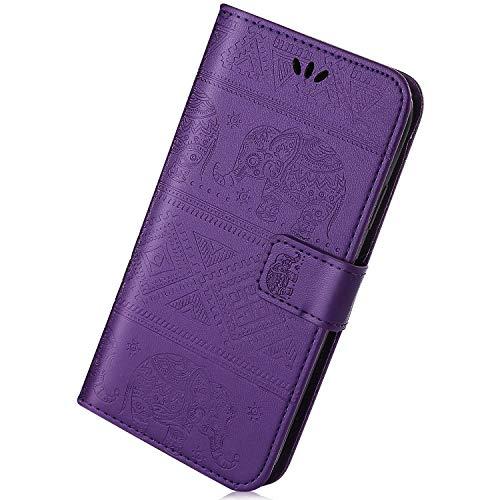 Kompatibel mit Lederhülle Galaxy S9 Plus Ledertasche Handytasche Bookstyle Schutzhülle Tasche 3D Schön Elefant Blumen Klapp Schutz Handy Hülle Ultradünn Brieftasche Handycover,Lila