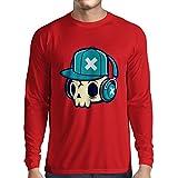 N4606L T-Shirt mit langen Ärmeln The DJ! (X-Large Rot Mehrfarben)