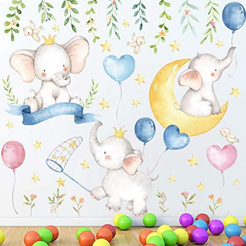Ylbhd cartone animato in pvc elefantino luna stelle adesivi murali camera da letto cameretta per bambini cameretta decorazioni per la casa adesivi rimovibili adesivi murali