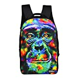 FOR U DESIGNS Cool 18 Inch Orangutan Face Casual Laptop Back Packs Mochilas
