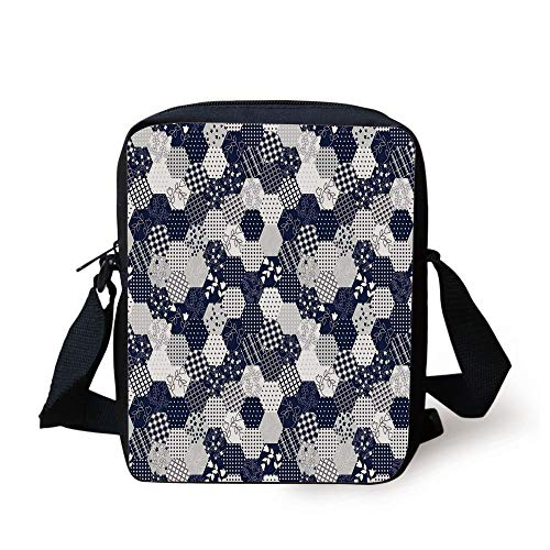LULABE Navy Blue Decor,Octagon Patchwork Style Pattern Image with Dots Stars Squares Stripes,Navy and White Print Kids Crossbody Messenger Bag Purse Octagon Dot