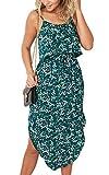 ECOWISH Damen Elegant Ärmellos Maxikleid Blumenmuster Sommerkleid Lang Schulterfrei Partykleider mit Schlitz 0867Grün XL
