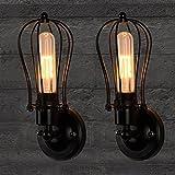 EMOTREE 2x Nostalgia Vintage Eisen Wandlampe Wandleuchte Industrie Staubbeutel-Design für E27 Glühbirne