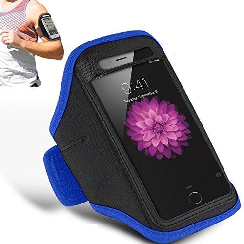 Apple iPhone 6S Plus - Einstellbare Armband Gym Laufen Jogging Sports Fall-Abdeckung Holder + Putztuch ( Black ) Blue
