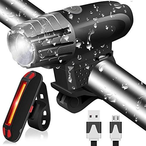 MUTANG Fahrrad-Licht, wasserdichtes USB-aufladbares Radfahren-Licht-Set Leistungsfähiges LED-helles Lumen-Fahrrad-Licht-Set, vorderer Scheinwerfer u. Hinteres rückliches Rücklicht, Nachtfahrsicherhei - Led Fahrrad-licht 9