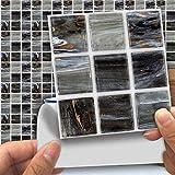 Ingeniously 18 Piezas de mármol Mate Pegatinas de Mosaico, 10 10 cm PVC Impermeable DIY Autoadhesivo Etiqueta engomada del azulejo de la Pared para el hogar baño Cocina salón decoración