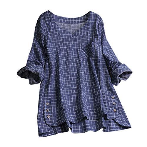 Oberteil T-Shirt Rundhals Ausschnitt Baumwolle Und Leinen Cat Drucken Asymmetrischer Saum Lose LäSsige Bluse Hemd Shirt Blusen Locker Basic Tops(A4-Marine,M) ()