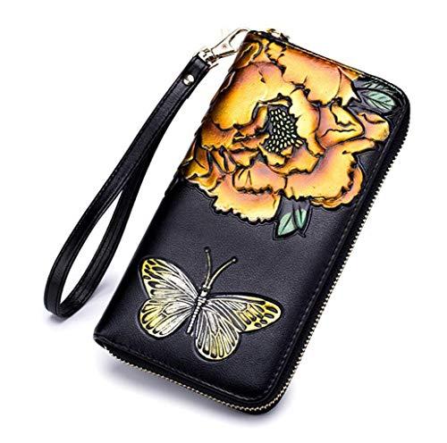 Mode Damen Geldbörse Rose Lange RFID Signal Abschirmung Frau Handtasche Reißverschluss Geldbörse (Farbe : Gelb, größe : One ()