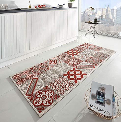 Zala Living Accent Küchenläufer, Polypropylen, Beige/Rot, 80x200 cm