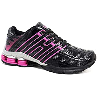 Ladies Running Trainers New Womens Shock Absorbing Fitness Gym Sports Shoes UK Size 3 - 8 (6 UK, Black Pink)