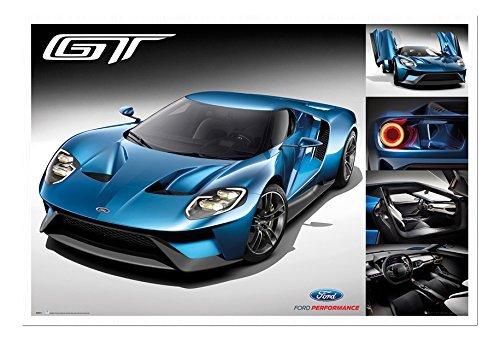 ford-gt-2016-supercar-poster-magnetico-bacheca-bianco-con-cornice-965-x-66-cms-approx-38-x-26-pollic