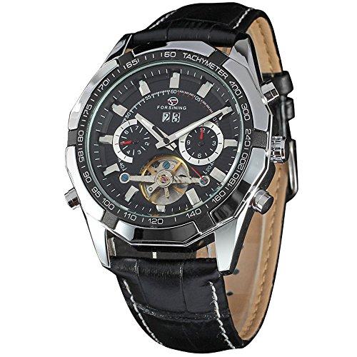 XLORDX Luxus Herren Datum Mechanische Automatik Uhr Skelett Schwarz Leder Armbanduhr Sportuhr Silber