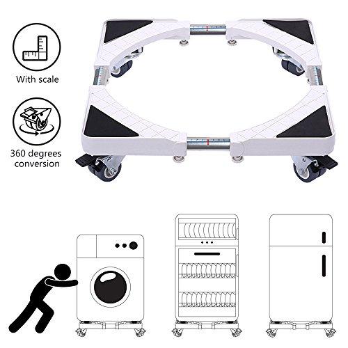 Socle Lave Linge Dewel Base de Machine à Laver Roller Réglable 45cm-70cm Stent Support Charge 200 kg Prévention Réduction du Bruit Effet avec pour Réfrigérateur / Machine à Laver / Sèche-linge