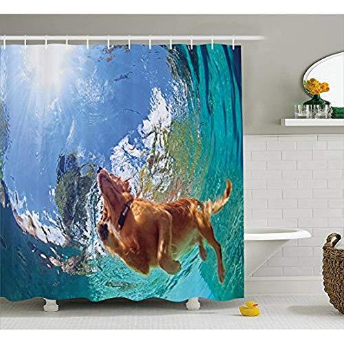 Yeuss Lustiger Duschvorhang, Unterwasserfoto des Golden Labrador Retriever Welpen Schwimmen im Pool glücklich,Stoff Badezimmer Dekor Set mit Haken,Zimt Türkis 66'x72' (Labrador-retriever-badezimmer Sets)