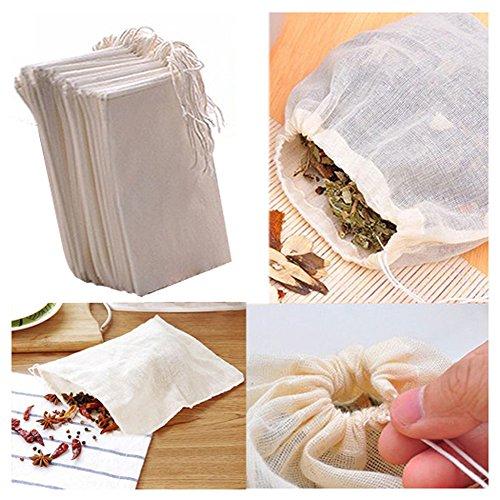 fomccu 10 Baumwolle Musselin Kordelzug wiederverwendbar Staubbeutel für Seife Kräuter Tee 8 x 10 cm groß … Tee Diffusor, Tasche