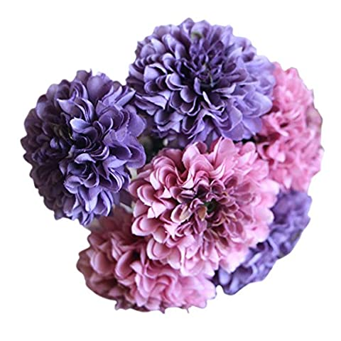 Butterme 2 Pcs Big Heads Artificial Silk Chrysanthemum Ball Hydrangea 5 Heads Flower Bouquet for Home Bookstore Office Wedding Party Table Vase Decoration (Deep