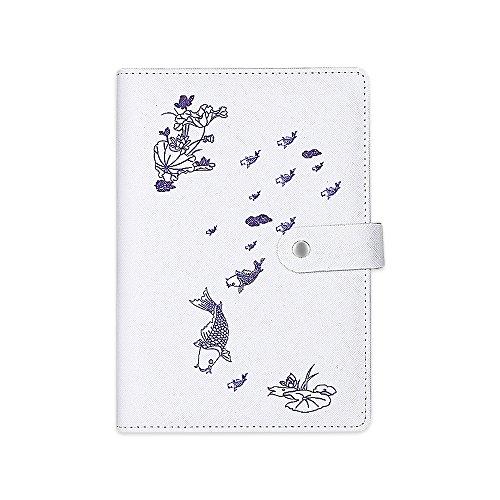 Zhi Jin 1pc Retro Notizbuch Tagebuch Blume Notizblock Tagebuch mit Snap Button 112Blatt liniertes Papier Büro Reise Geschenk Koi (Koi-snap)